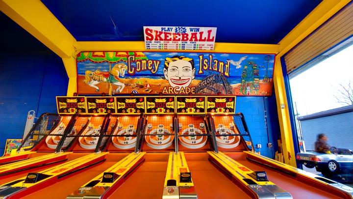 Coney Island arcade, skee ball game