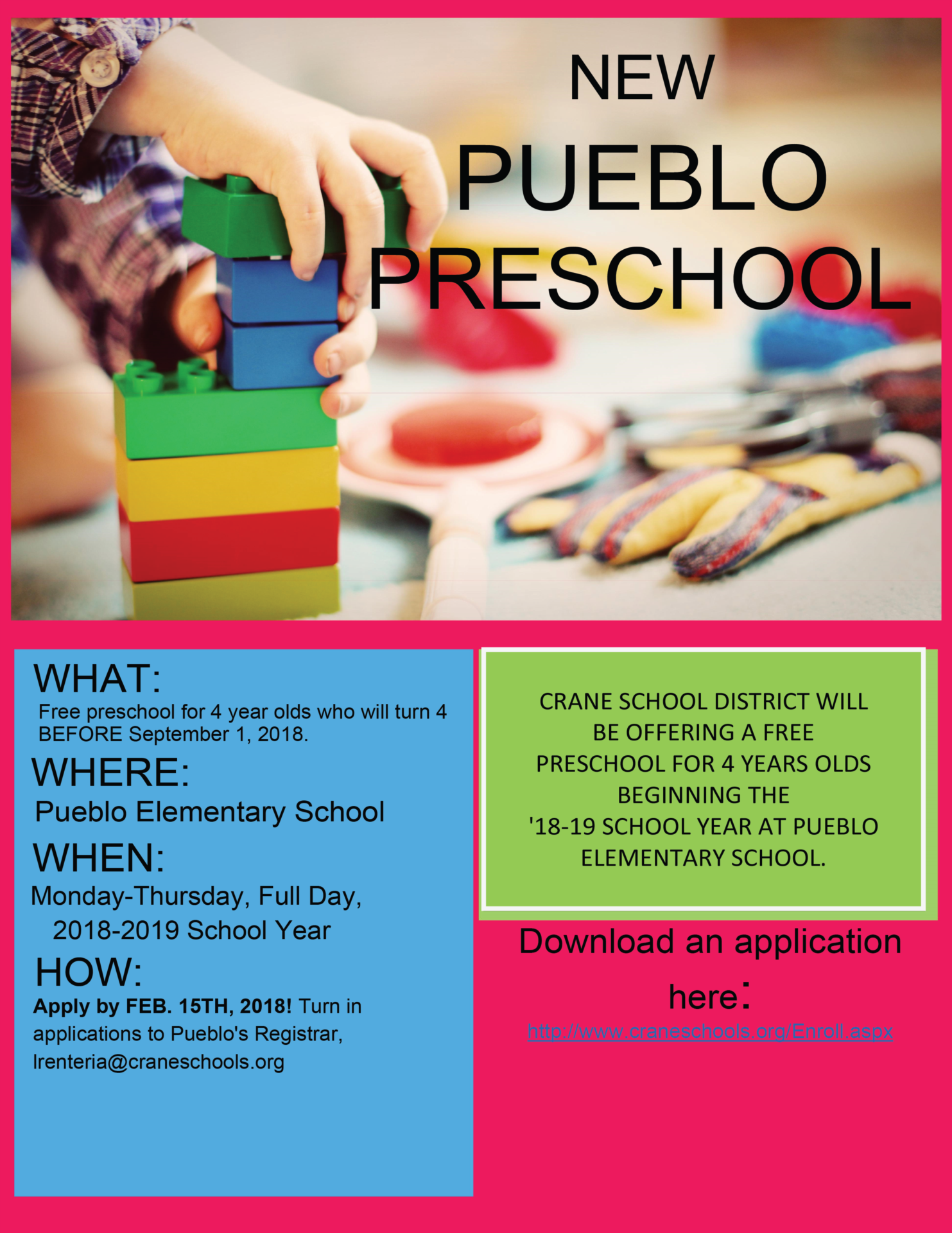 Pueblo Preschool Flier showing a child playing with blocks and information regarding regsitration