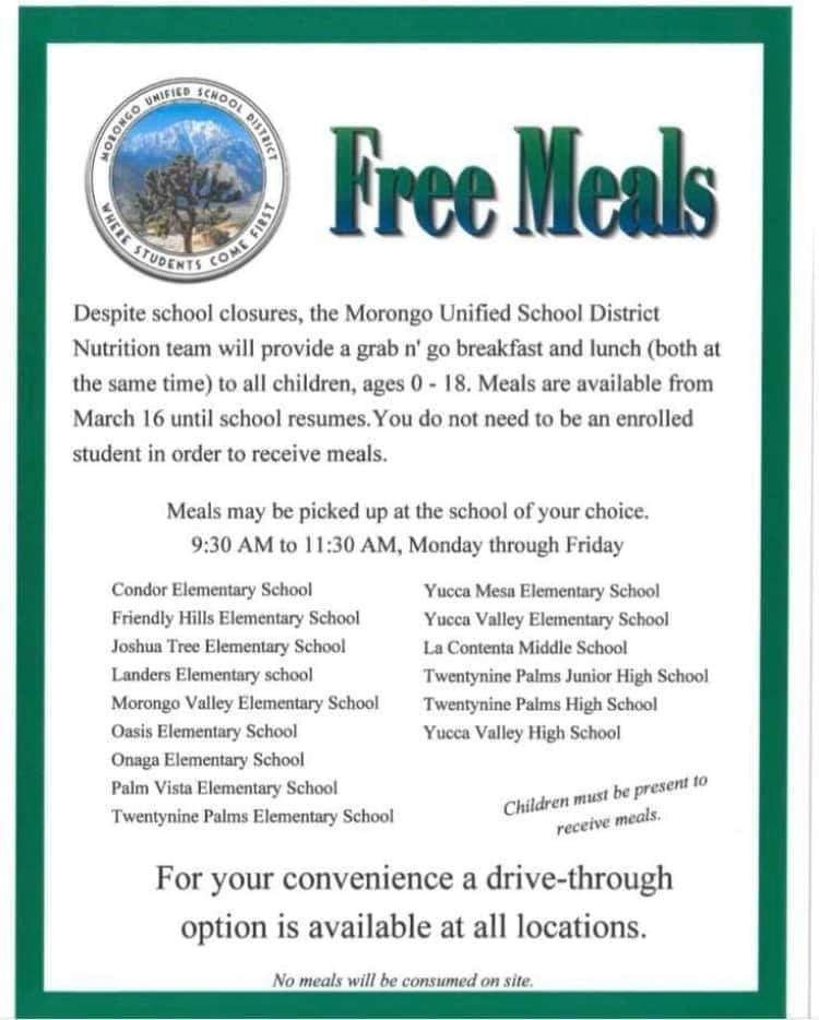 Meals provided through school closure from 9:30-11:30 daily