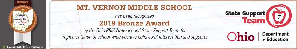 Bronze Award Banner for Positive Behavior Intervention Support.