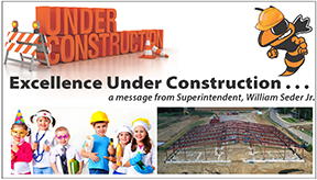 Under Construction logo with hard hat Yellow Jacket and our community field house under construction.