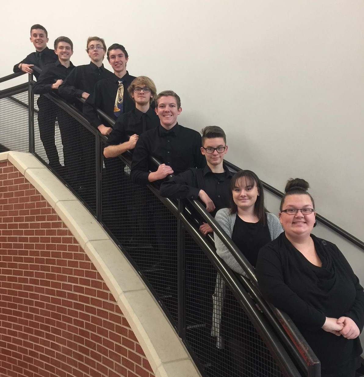 All District Symphonic Band members on stairsteps