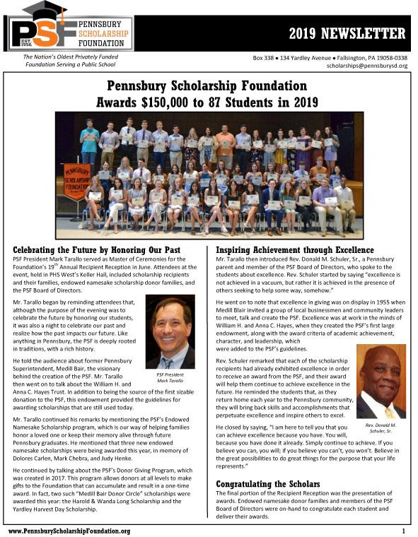 2019 PSF Newsletter