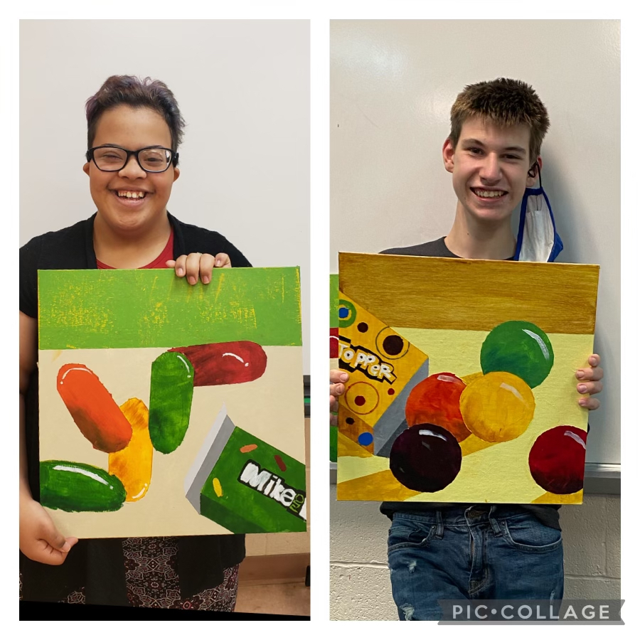 ACHIEVE students finished their Art II class creating acrylic candy paintings.