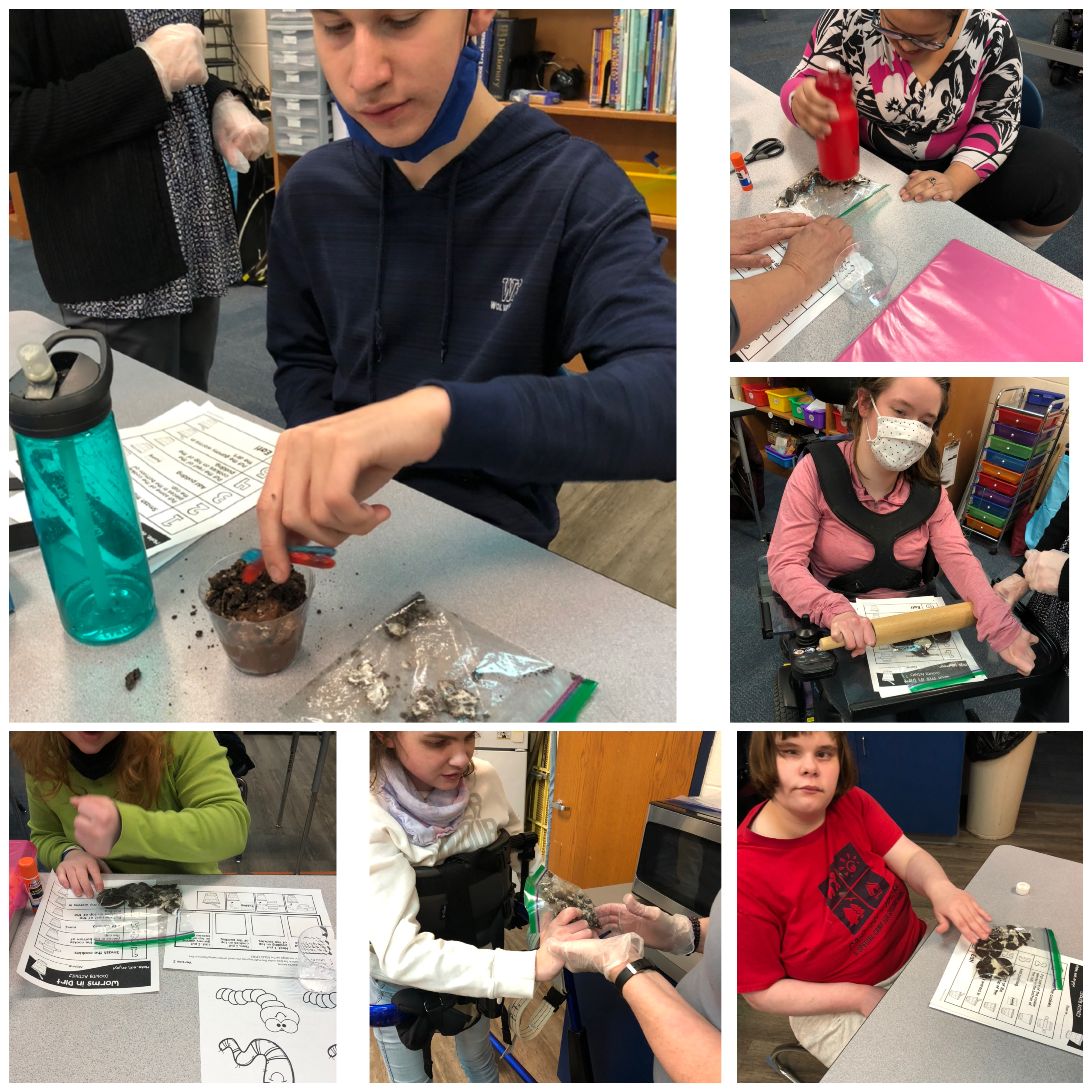 Students in Ms. Lunka's ACHIEVE class at WGHS celebrated by making dirt cups with worms.