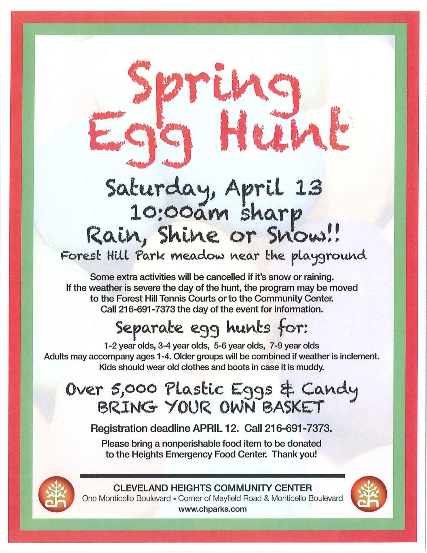 spring egg hunt flyer