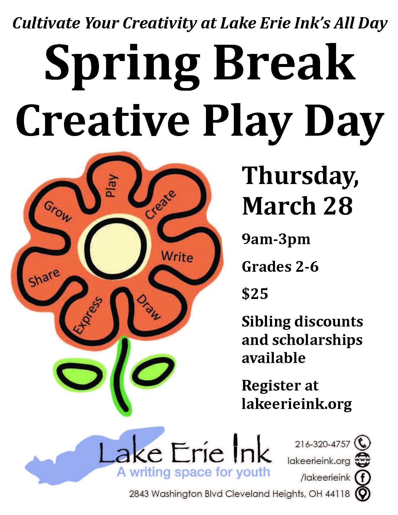 spring break creative play day flyer