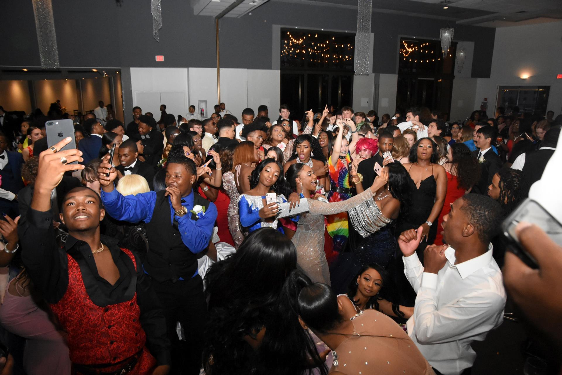 Group of kids dancing at prom