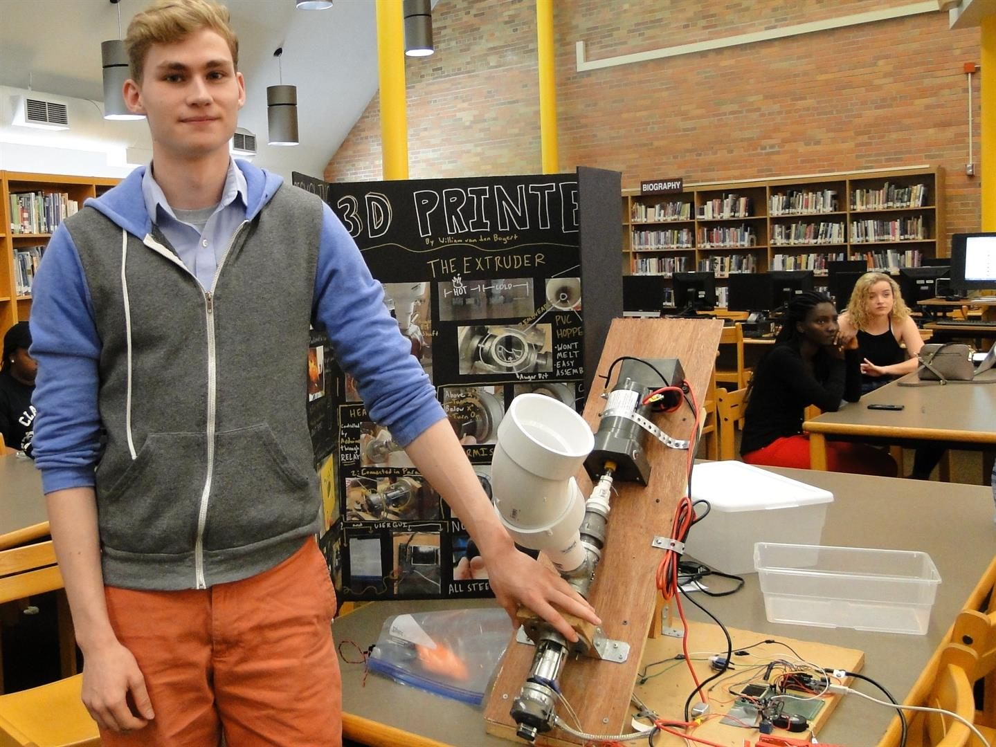 Student with 3-D Printer Project