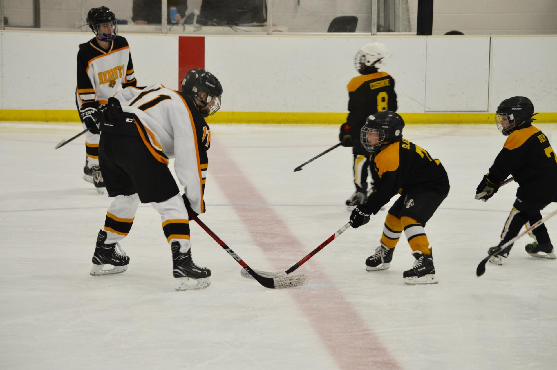 Heights and Mites players on ice