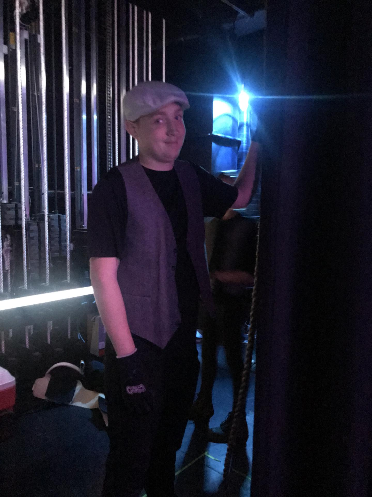Crew member backstage