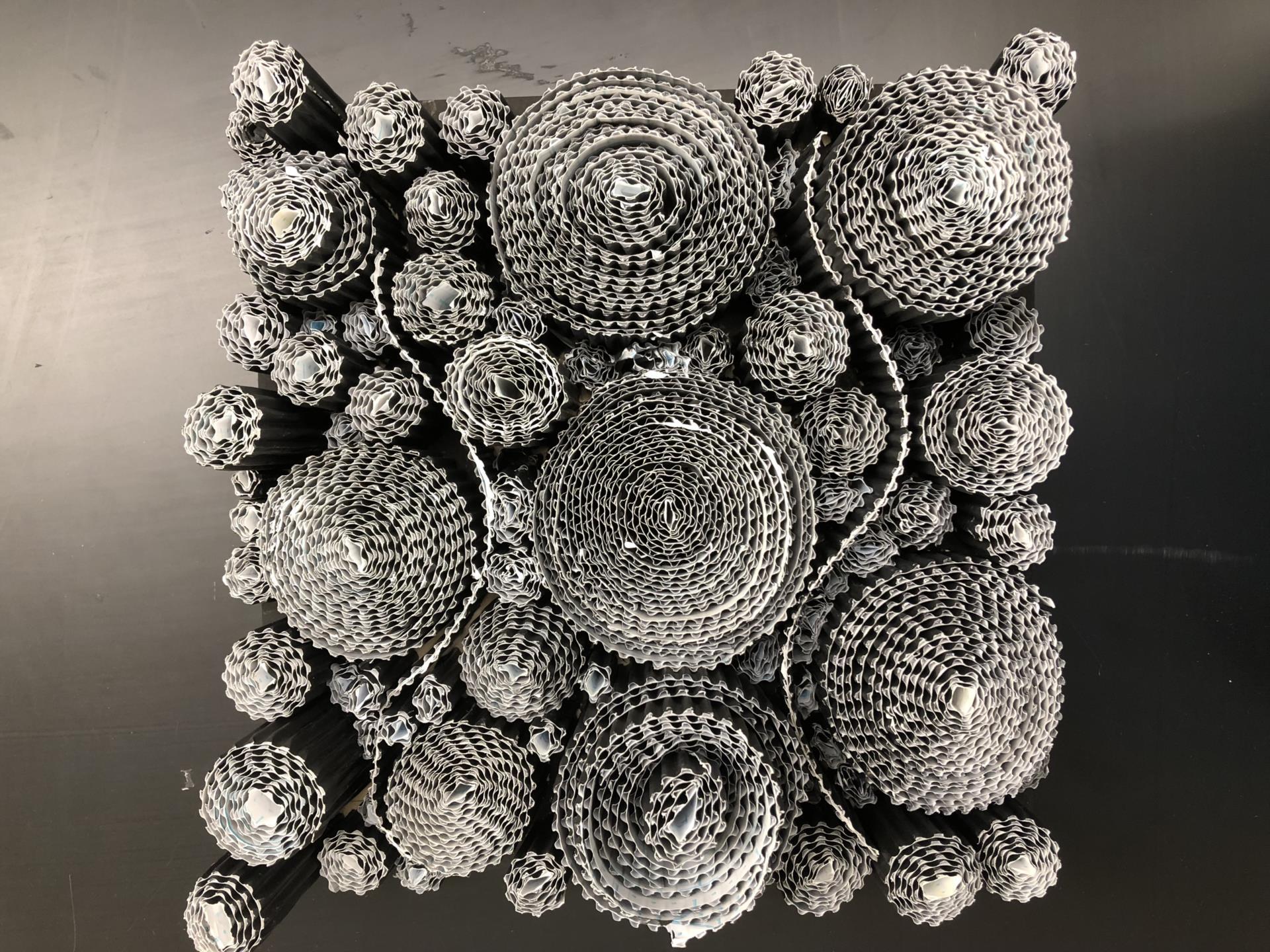 Silver and gray circular design patterns