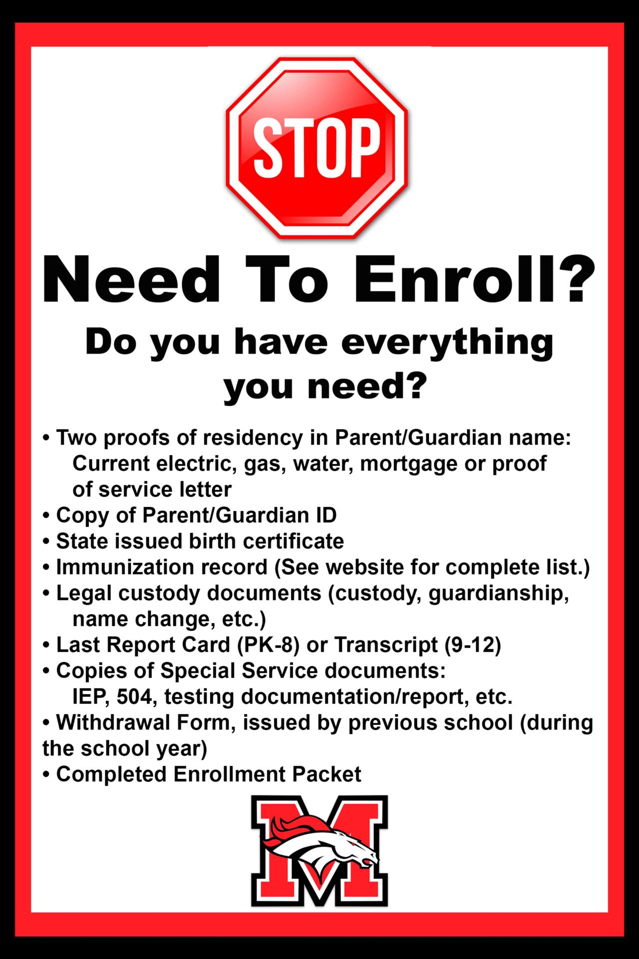 Required Items For Enrollment