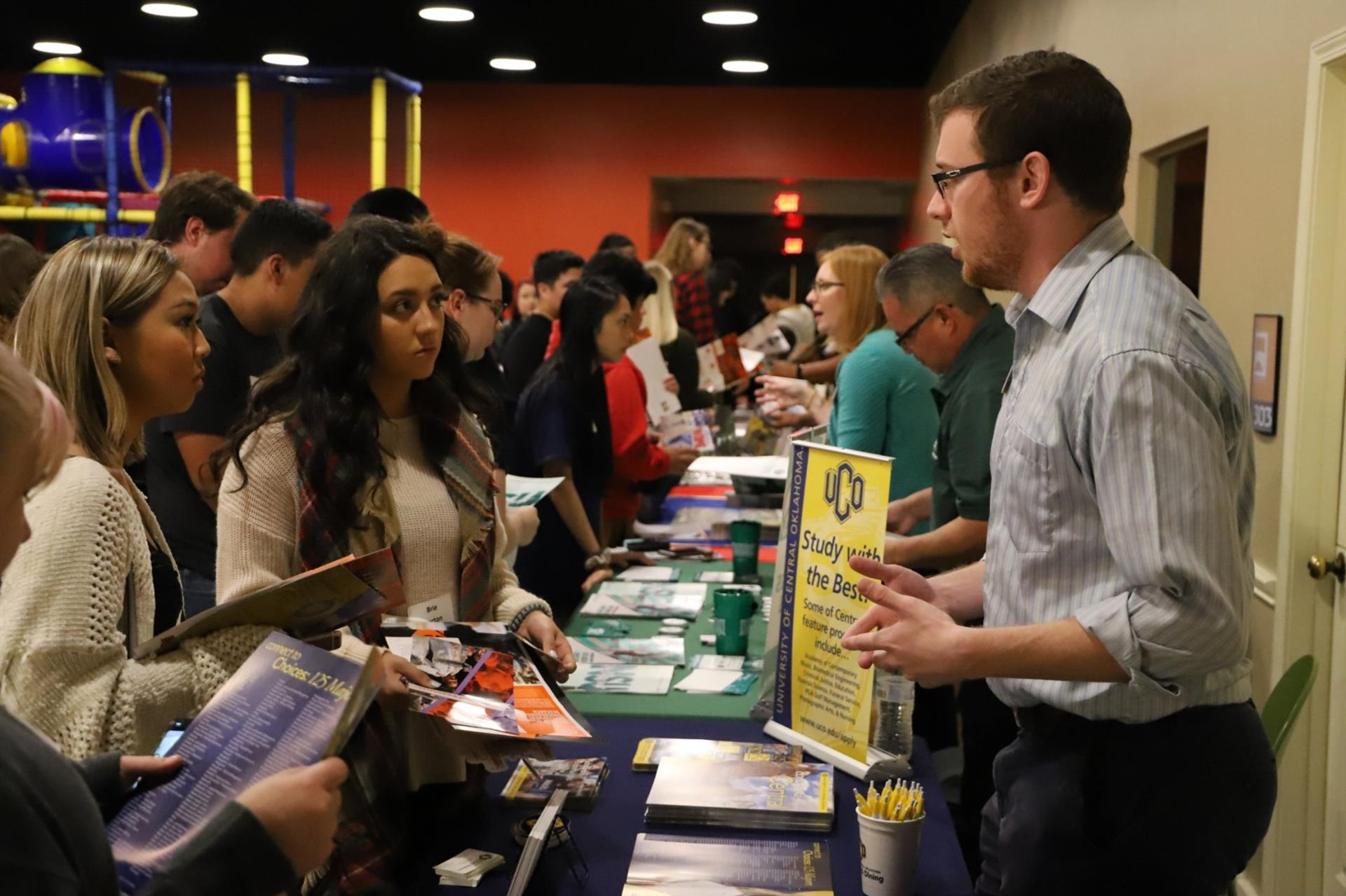 Representatives from UCO and other colleges, universities, and trade schools spoke with students at the college fair.