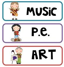 Music, physical education and art