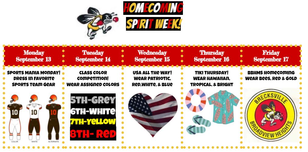 Homecoming Spirit Week Monday-Friday Themes