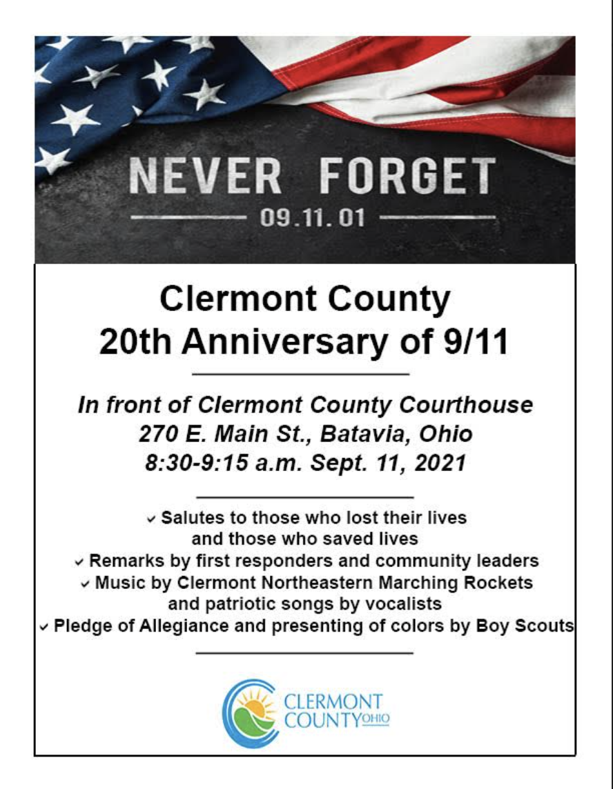 Clermont County 9/11 Event 8:30am Clermont County Courthouse