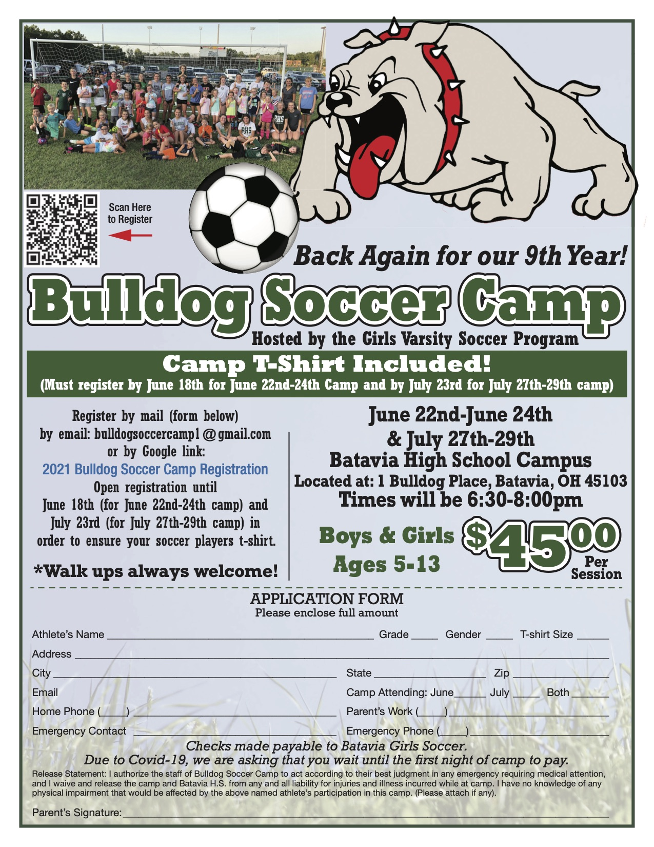 BHS girls soccer team summer camp june 22 -24 and june 27 - 29