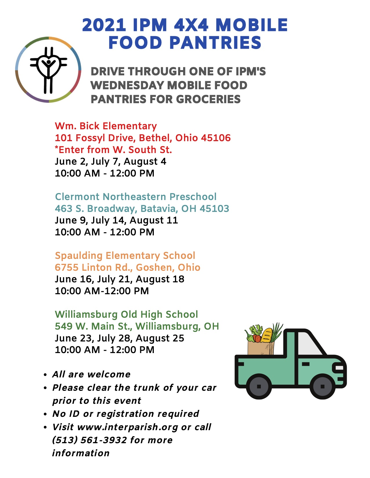 IPM summer food pantry wednesday pickup schedule with dates attached