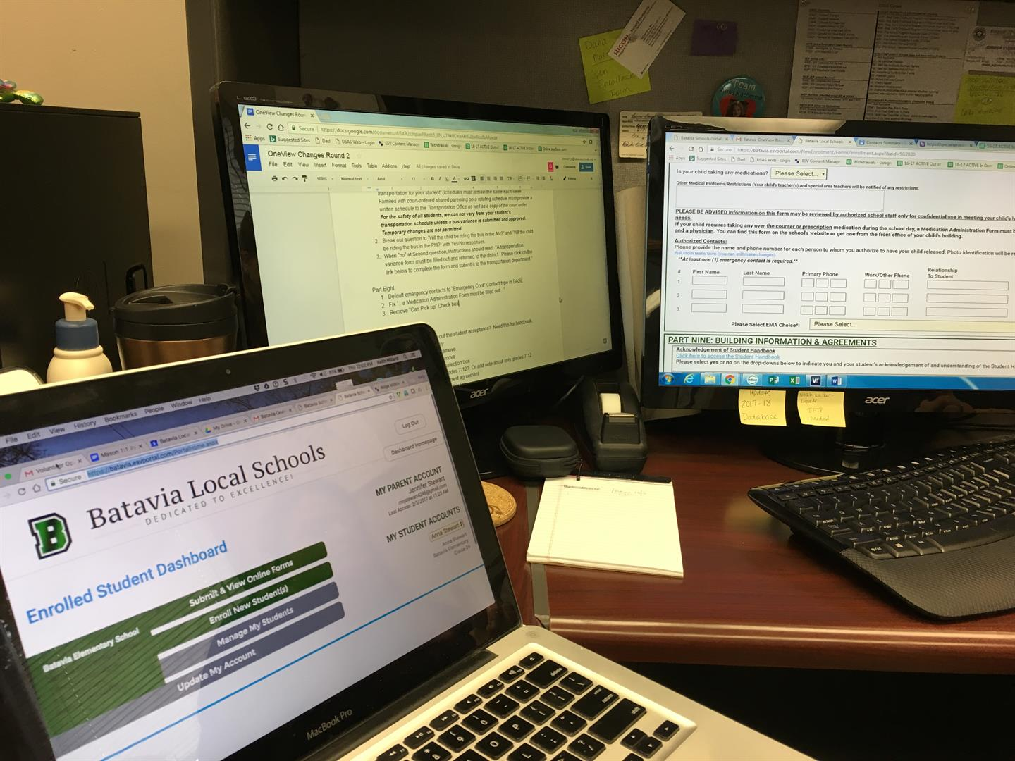 Picture of three computers that display a beta version of the new parent portal along with changelog notes