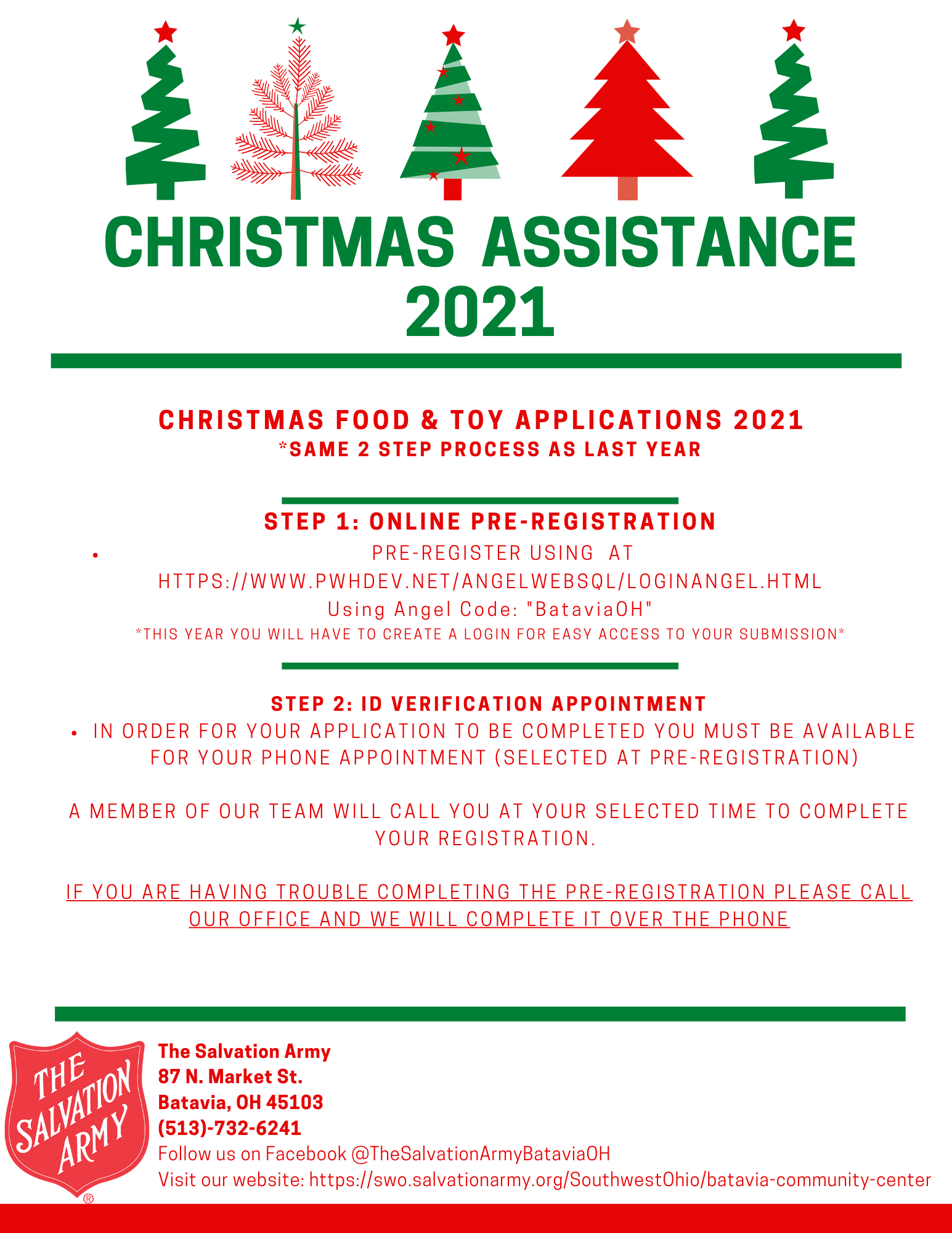 Please call the Salvation Army at 513-732-6241 if you are in need to Christmas Assistance