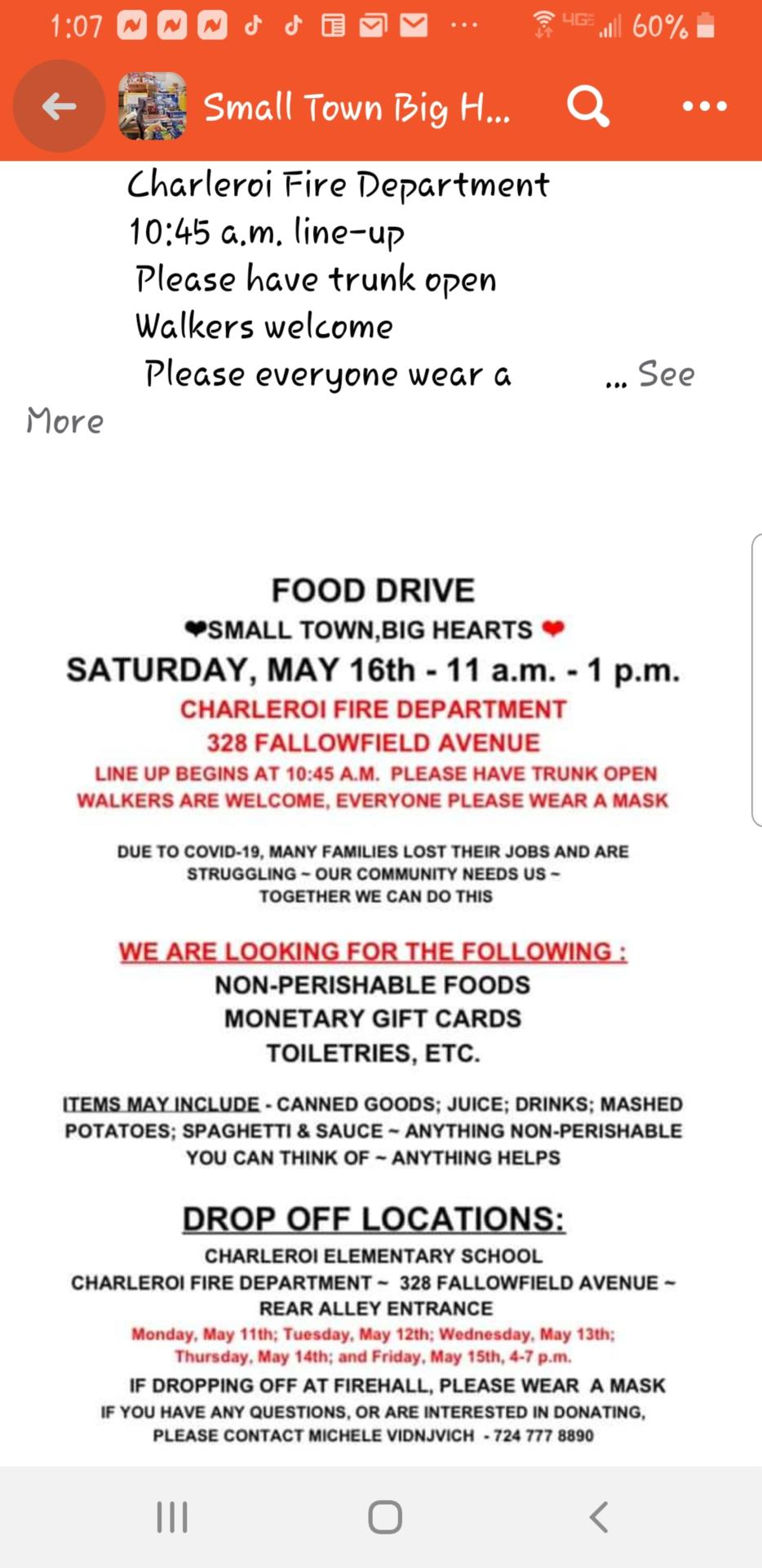 Food Drive at the Charleroi Fire Dept at the rear alley entrance on Saturday,  May 16th, 11am-1pm