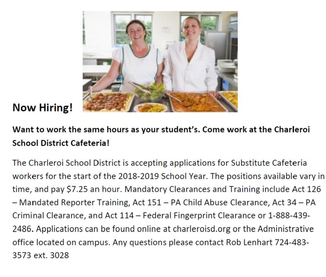substitute cafeteria workers needed