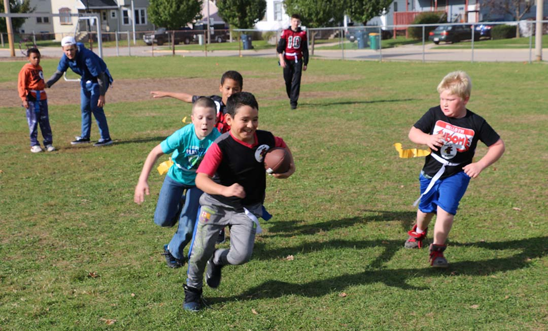 Chegwin students play football