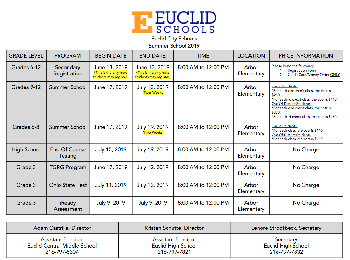 summer school schedule 2019