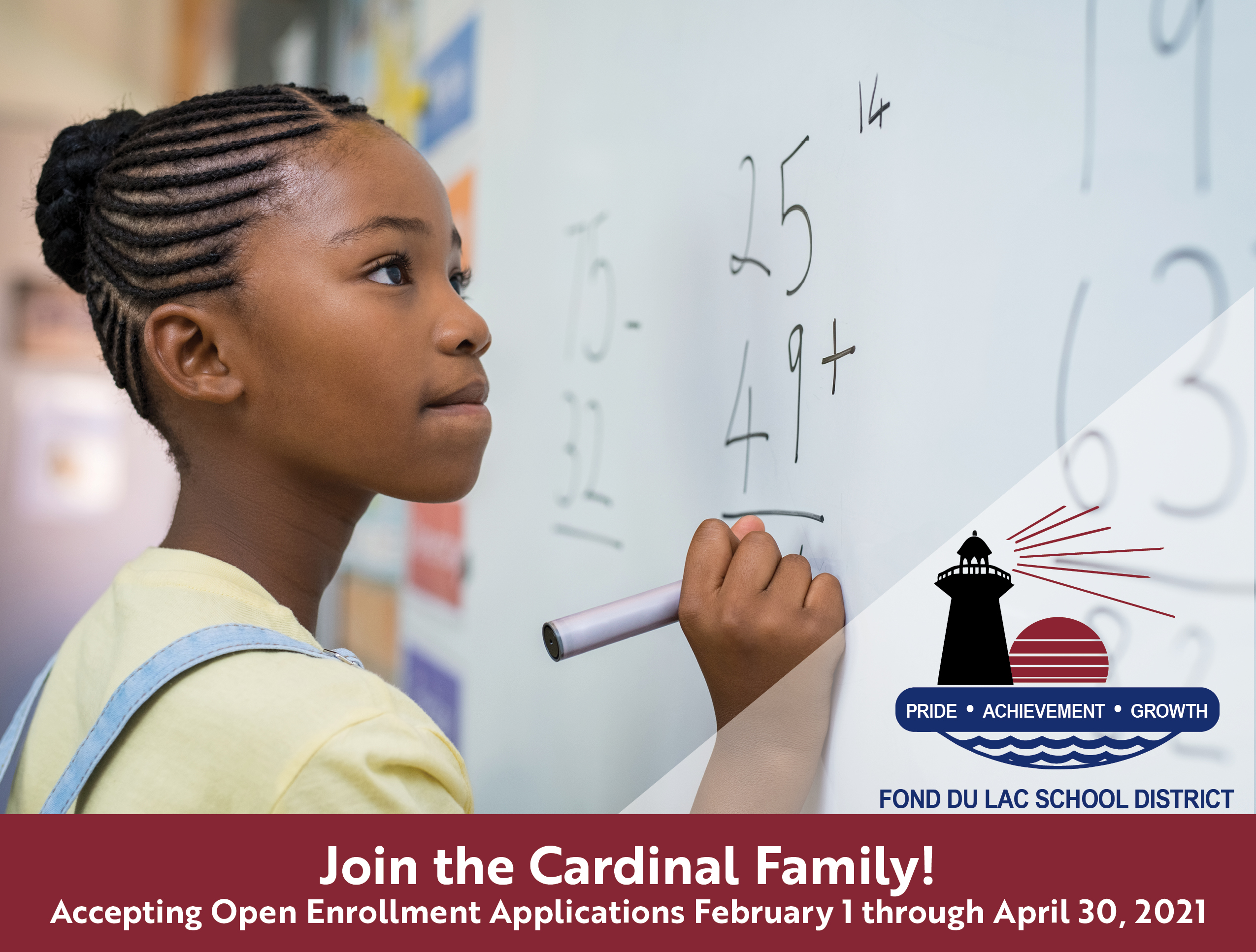 Student doing math, Join the Cardinal Family, deadlines for open enrollment