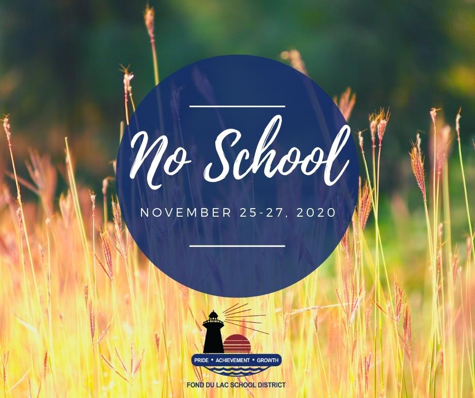 No School Nov. 25-27, 2020