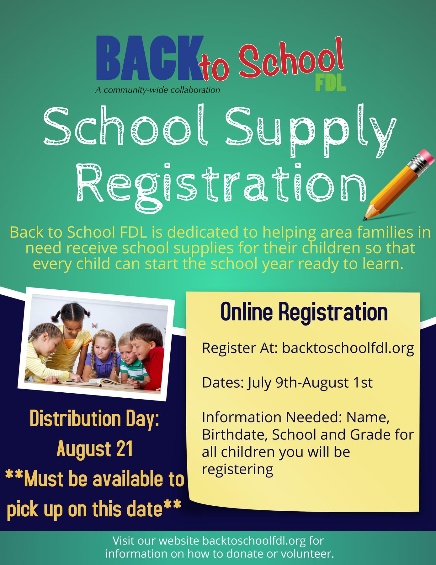 School Supply registration