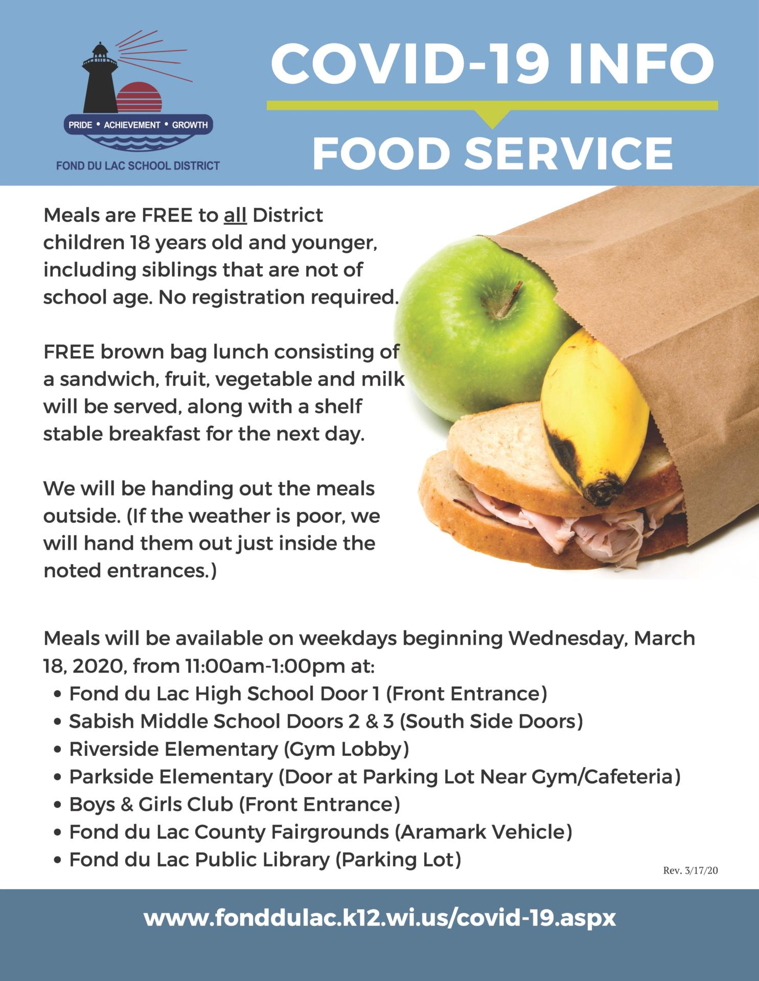 COVID-19 Food Service flyer