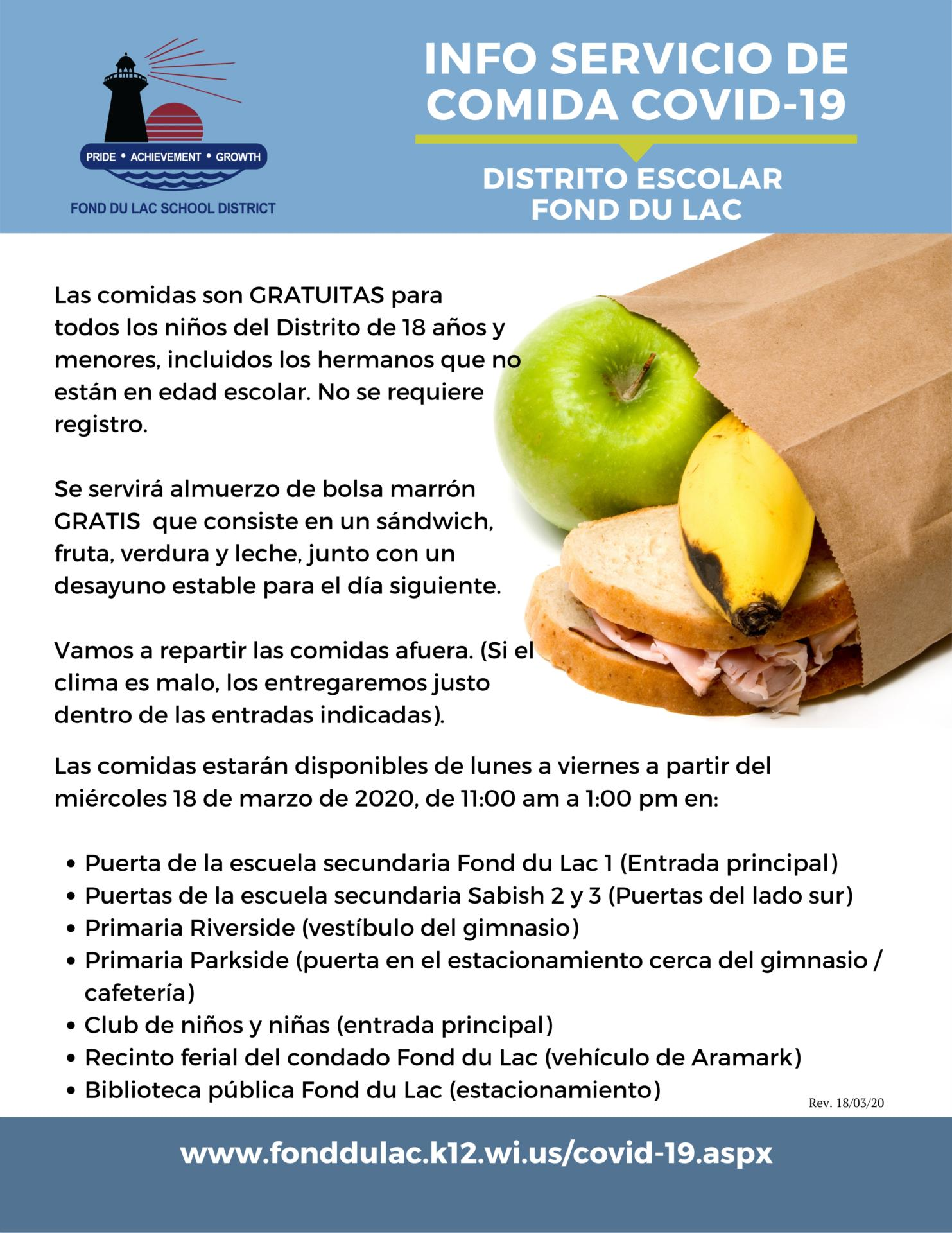 food service poster graphic in Spanish
