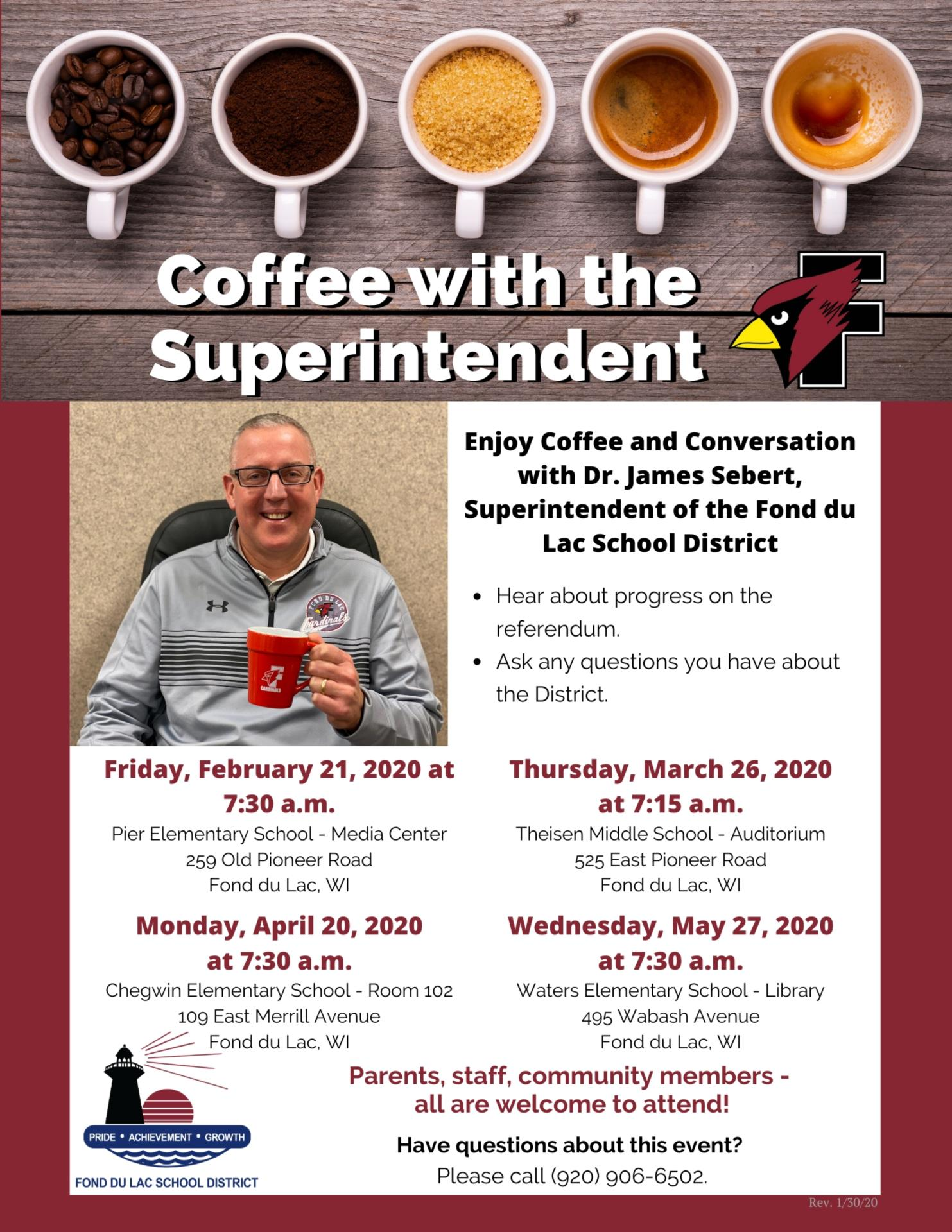"""flyer for """"Coffee with the Superintendent"""" event"""