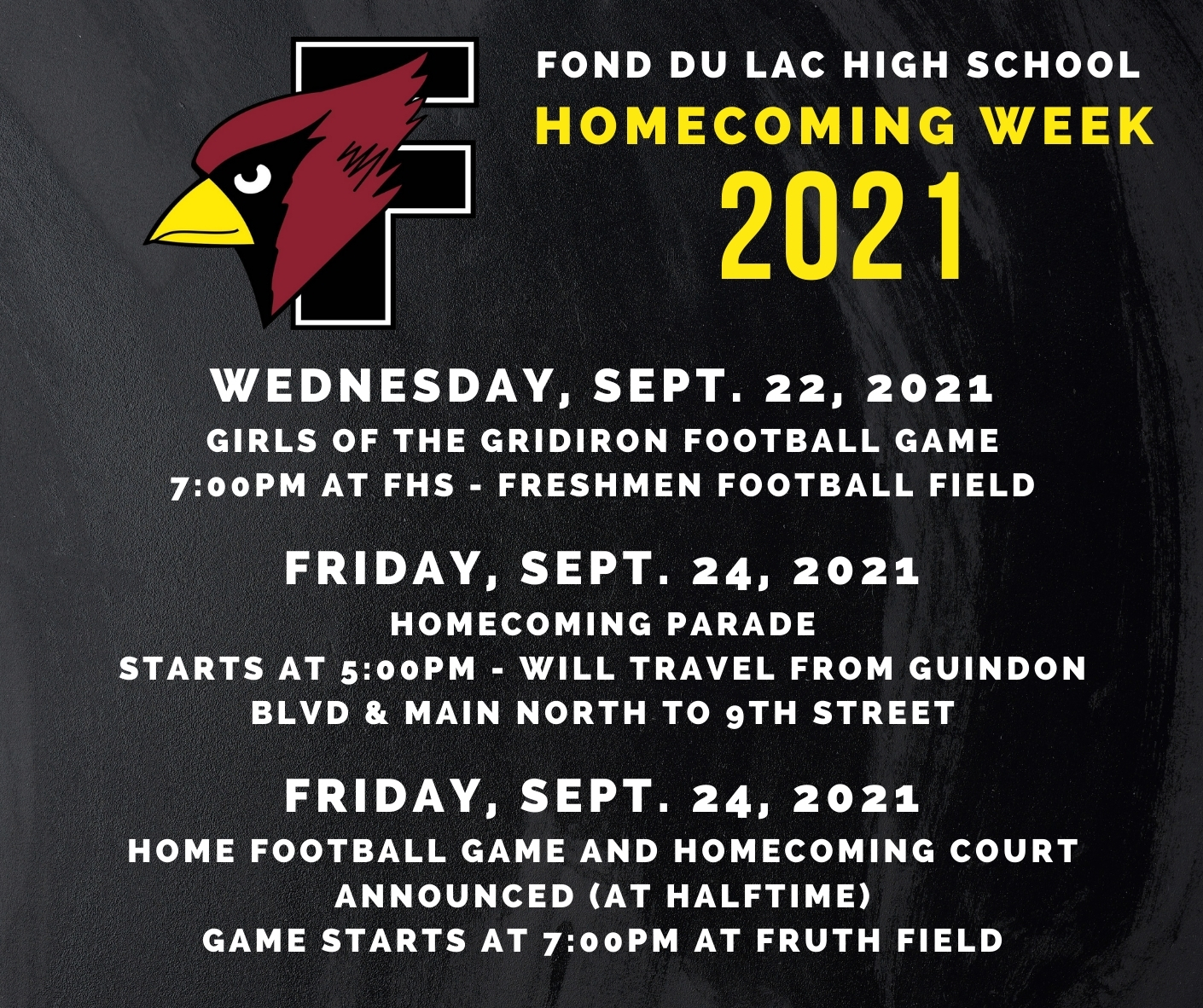 Homecoming 2021 details in graphical format