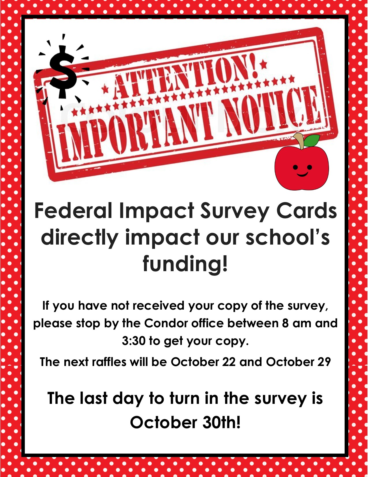 Federal Survey Cards due October 30
