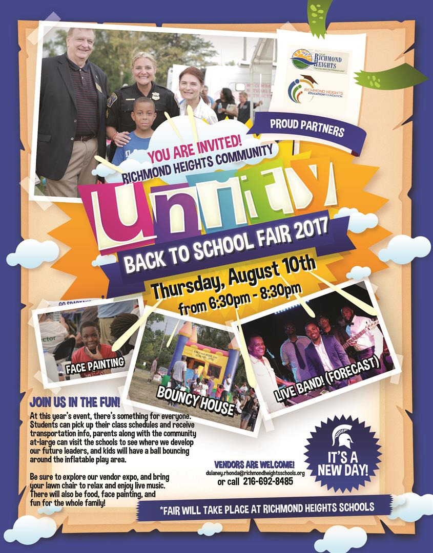 Back to school fair on August 10, 2017 from 6:30pm to 8:30pm. Food, bouncy houses, vendors, the jazz band Forecast, school visits, transportation information. Call 216-692-8485 for information or visit www.richmondheightsschools.org