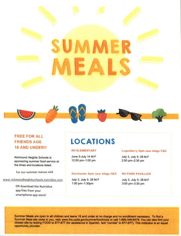 Summer Meals flyer with locations for lunches for kids in the community at RH Elementary from Noon -1pm, Loganberry Apts From 2-2:30pm, Dorchester Apts from 1-1:30pm, RH Park Pavillion from 3-3:30pm