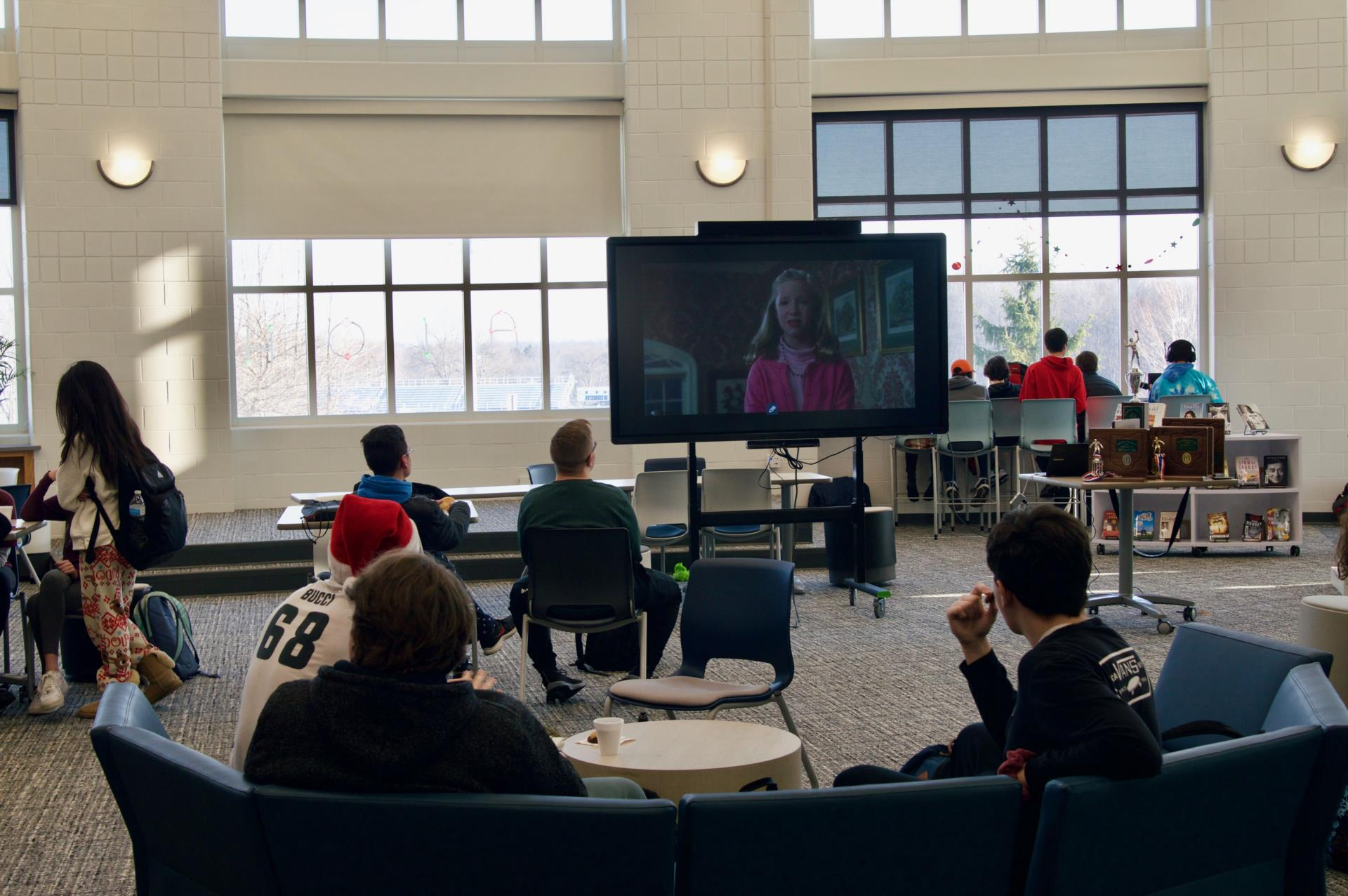 students watching holiday movie