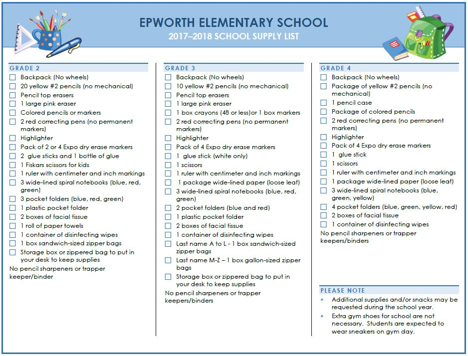 Epworth Elementary Supply List page 2
