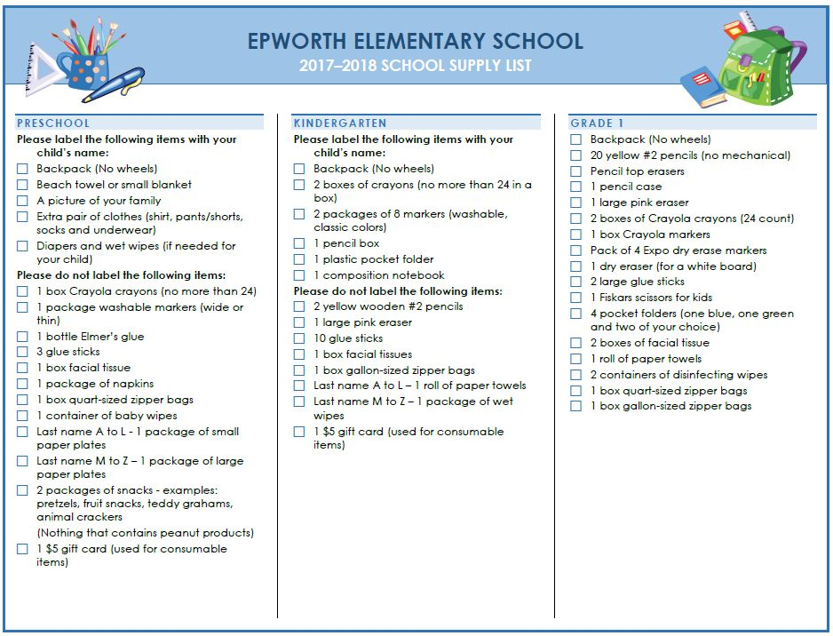 Epworth Elementary Supply List page 1