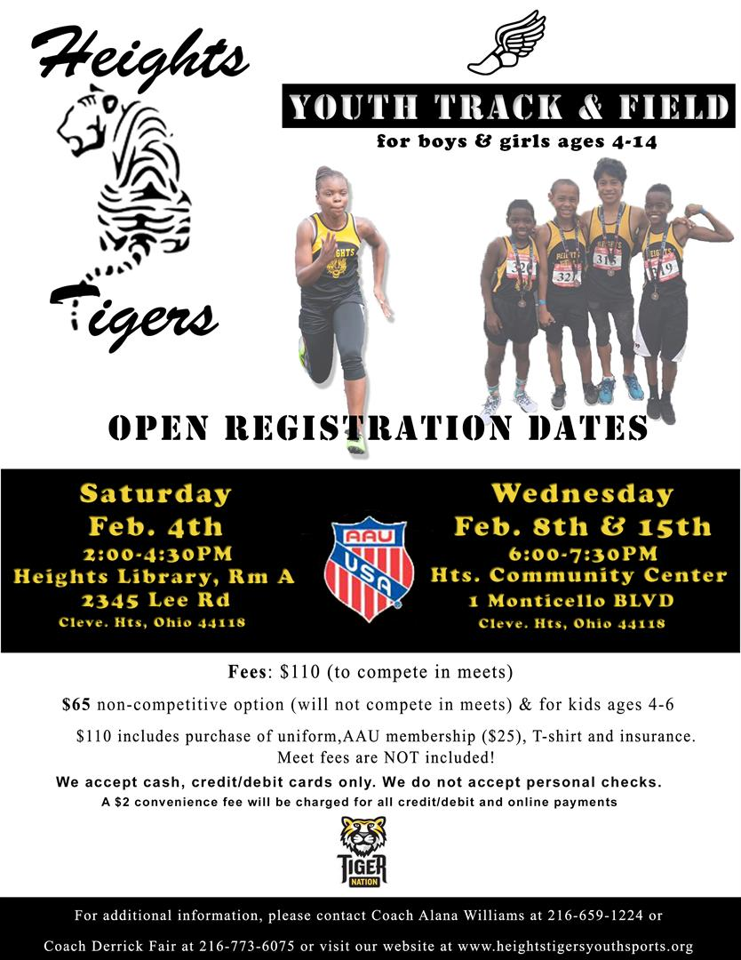 Heights Youth Track and Field registration flyer