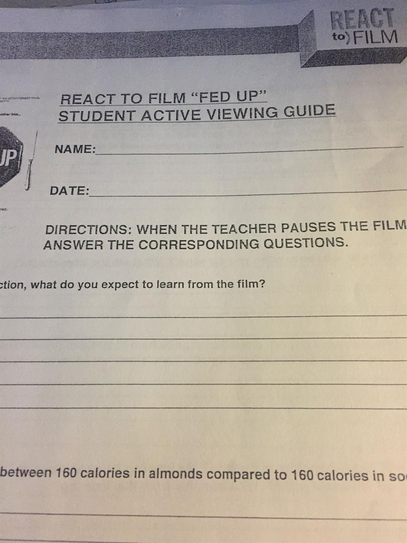 Film worksheet for students
