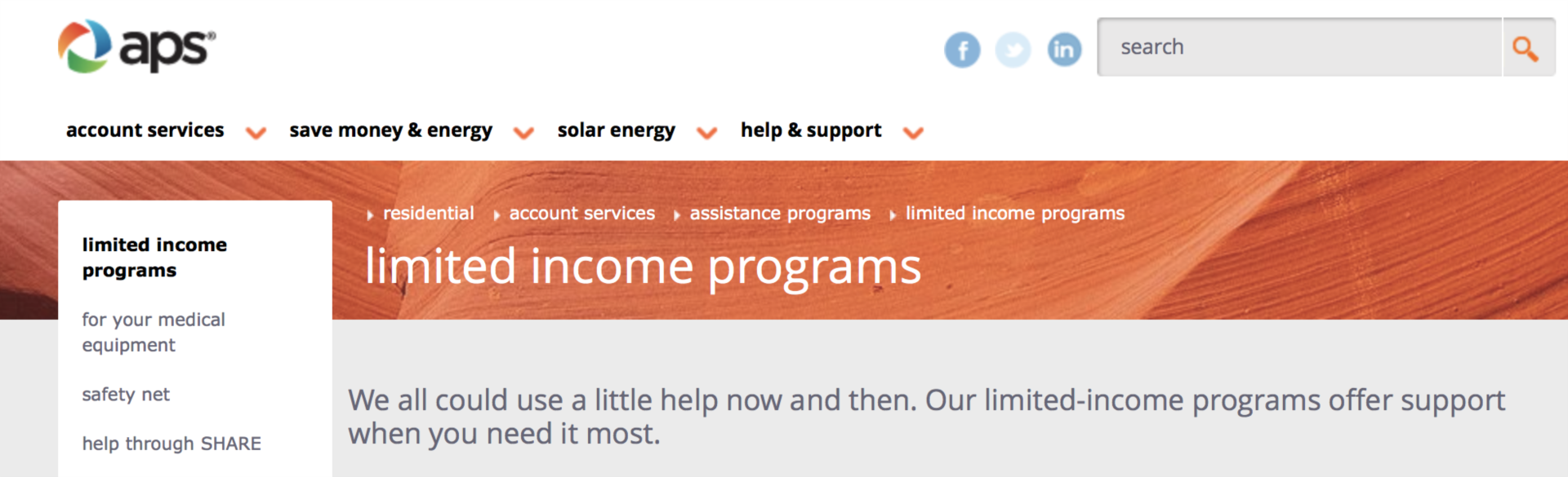 Aps low income program header
