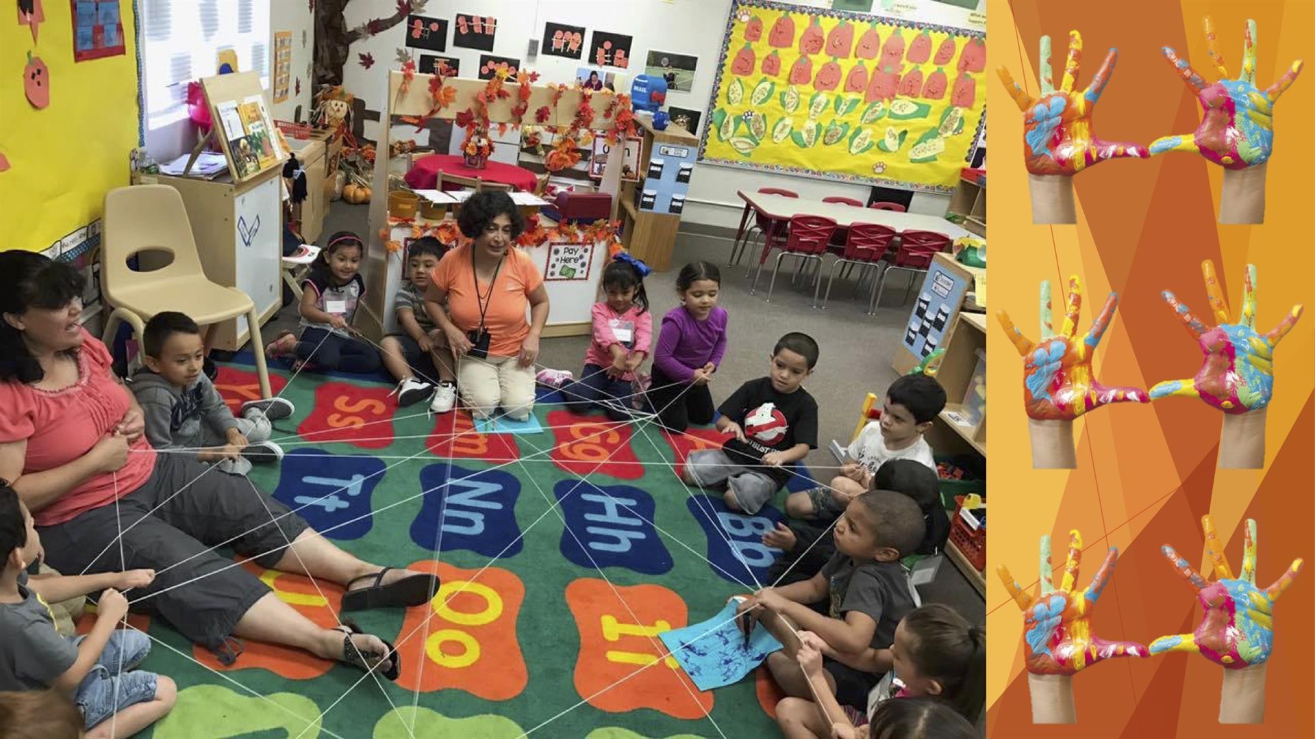 Preschoolers with Yarn