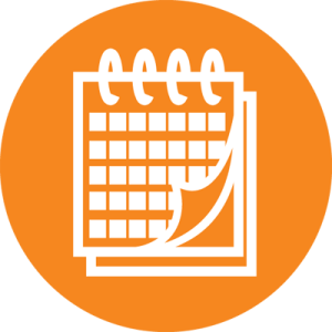 Orange calendar graphic