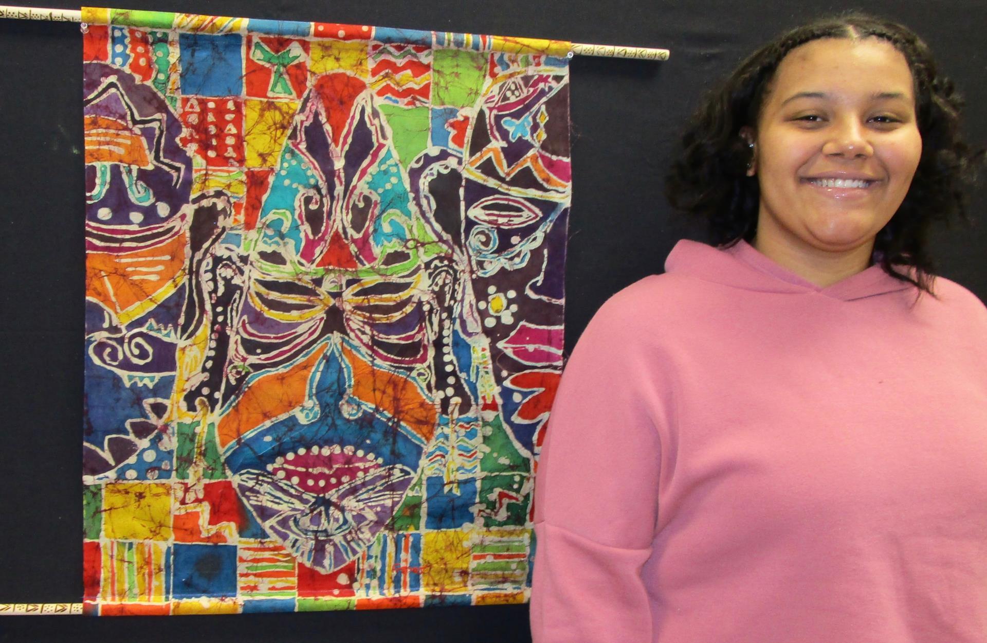 Student Freddi King and artwork