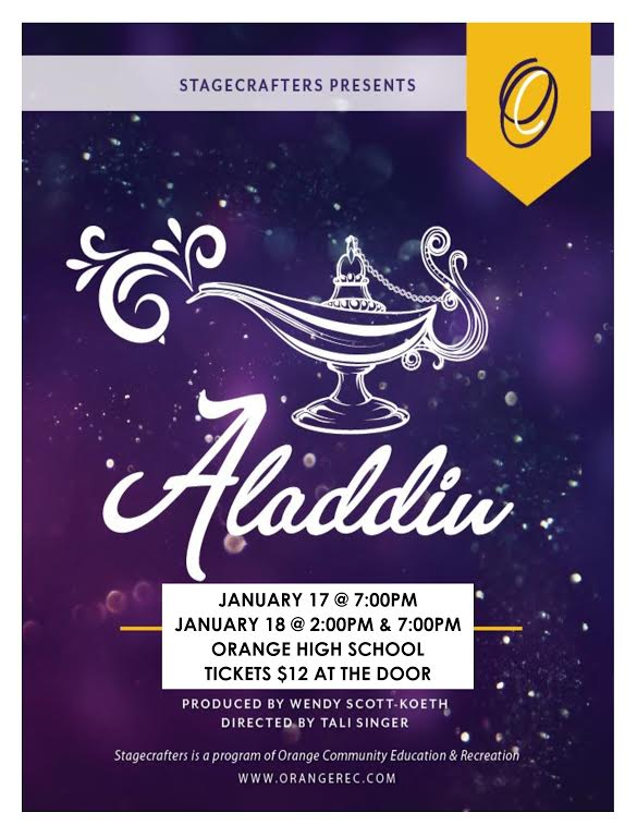 Flyer for Stagecrafters' Performance of Aladdin