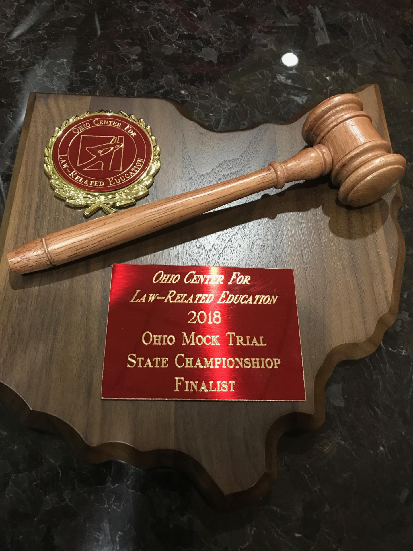 Mock Trial Plaque & Gavel